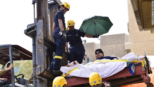 A forklift truck was used to transport Khalid bin Mohsen Shaari to the hospital in August.