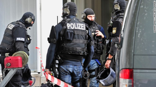 German special police forces arrive at a hostage situation in the townhall in Ingolstadt, Germany, on Monday.