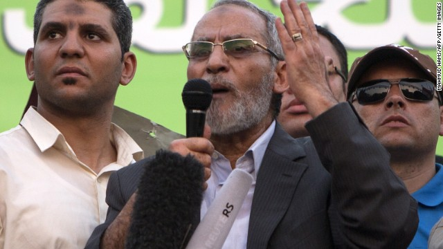 Mohammed Badie leader of Egypt's Muslim Brotherhood, addresses supporters in Cairo on July 5, 2013.