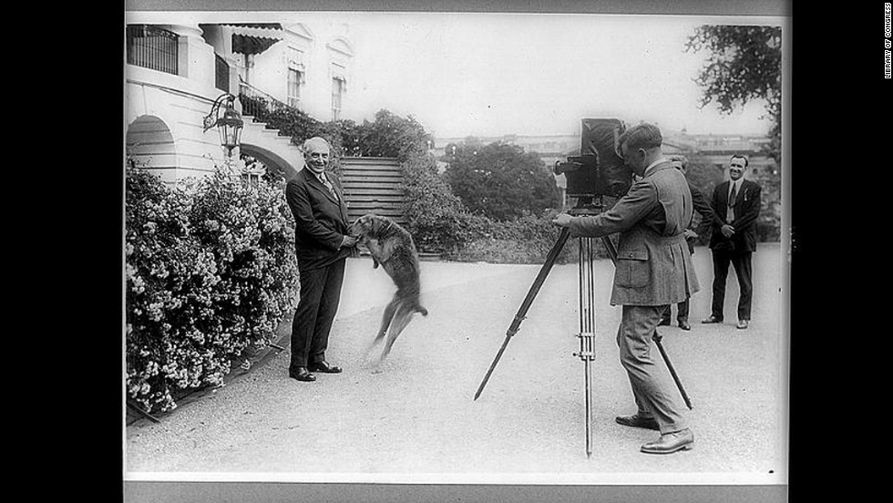 President Warren G. Harding and his dog Laddie are photographed in front of the White House.