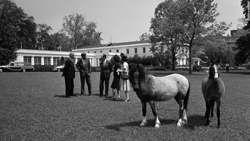 President John F. Kennedy and first lady Jacqueline Kennedy stand with their guests and their daughter's ponies, Macaroni and Tex, outside the White House in 1962.