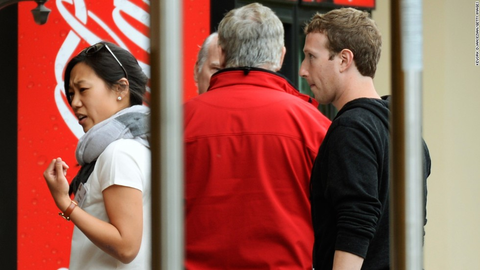 Zuckerberg and his wife Priscilla Chan at the Allen & Co. annual conference for movers and shakers in July in Sun Valley, Idaho. Among others attending were media mogul Rupert Murdoch, Twitter co-founder Jack Dorsey, journalist Tom Brokaw and Facebook COO Sheryl Sandberg.