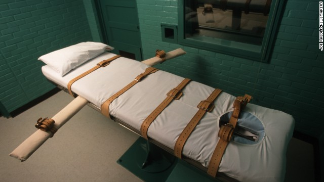 The Texas death chamber in Huntsville, Texas, seen in June 2000, is where death row inmates are executed by lethal injection.