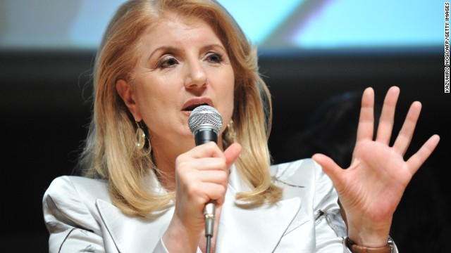 Arianna Huffington delivers a speech during a press conference in Tokyo on May 7, 2013.