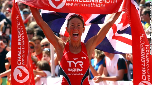 Chrissie Wellington wins the Challenge Roth Triathlon with a new long distance world record on July 10, 2011, in Roth, Germany.