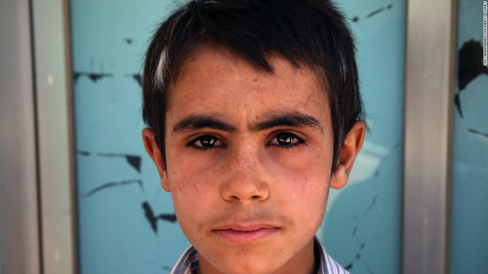 Mustafa, 12, fled his home in Aleppo, Syria, under intense shelling and fighting. Mercy Corps says his hair started to turn white shortly after he arrived as a refugee in Lebanon from the stress and trauma of his ordeal.