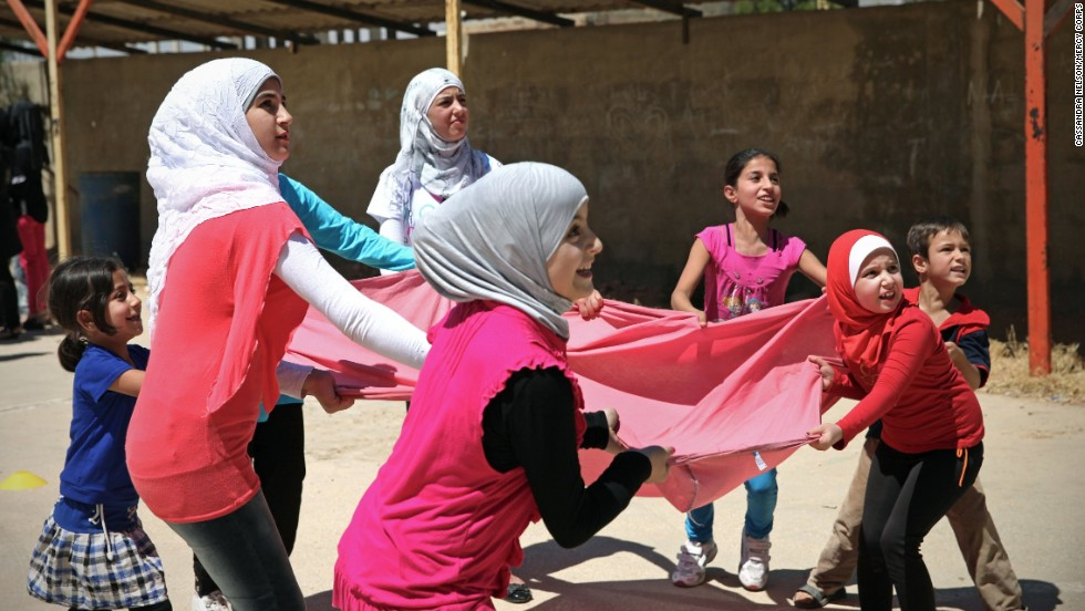 At the Mercy Corps' youth program, children take part in sports activities that build confidence and leadership in the wake of the devastating events they have experienced.