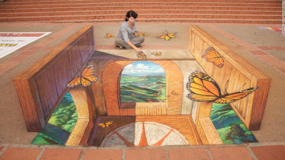 Artist Tracy Lee Stum works on a 3-D image in San Luis Obispo, California.