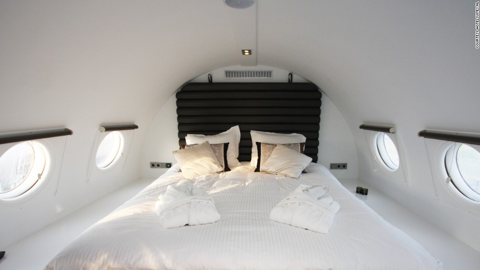 The Hotel Suite is equipped with this bed, a Jacuzzi, infrared sauna and mini-bar. It's a plane of many lives: it started out as a political transport, was converted to a commercial airplane seating 120, then used as a restaurant for 15 years until it became a hotel in 2007.