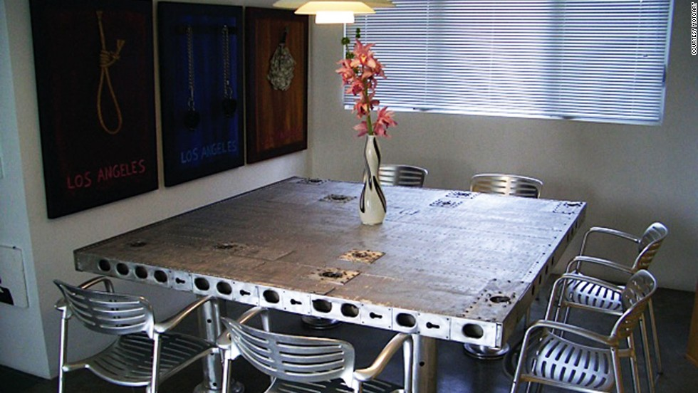 MotoArt creates all sorts of tables -- martini tables, coffee tables, conference tables -- from unexpected plane parts, including propellers.