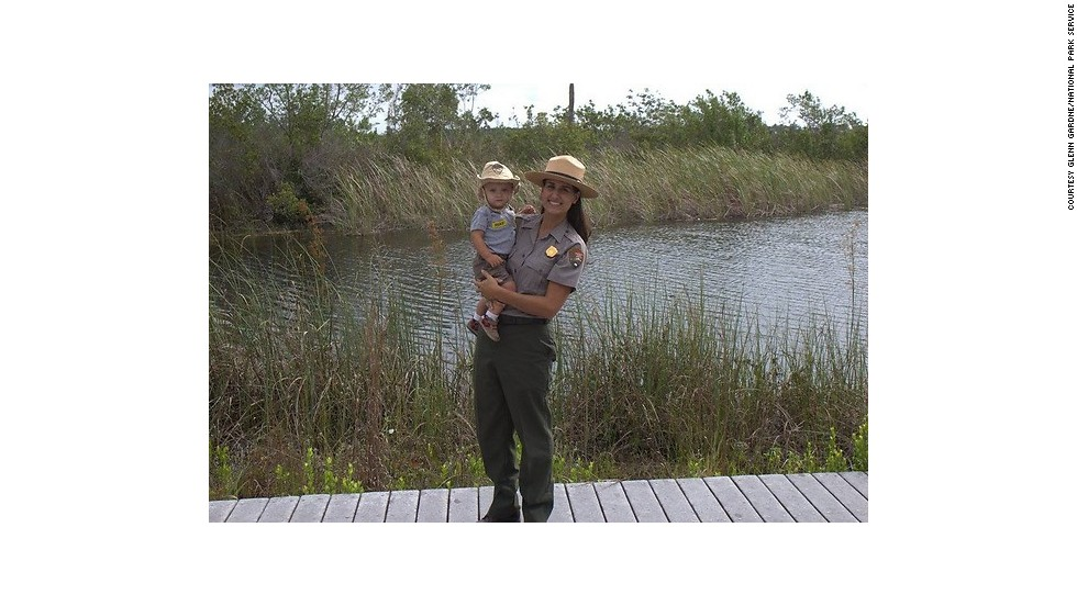 Sabrina Diaz, supervisory ranger for Everglades National Park, with her daughter, Sierra, at the Ernest F. Coe Visitor Center.