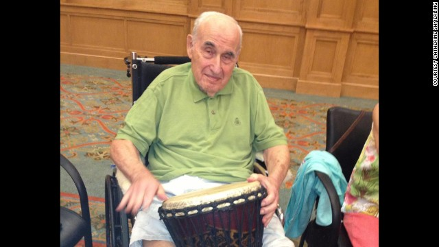 Dr. Sanford A. Shmerling, who has Alzheimer's, joined in drum circle activity recently at his nursing home in Atlanta.