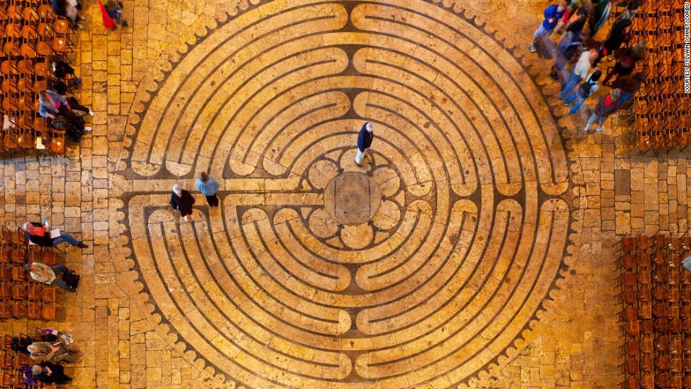 This labyrinth is designed as a single path that coils and unfurls, turning back and forth within a 40-foot circle.