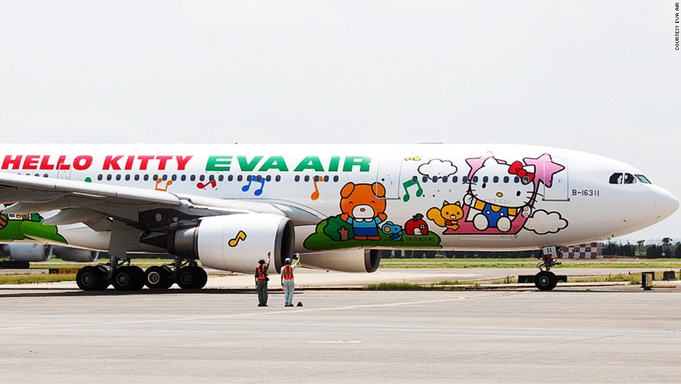"And here is EVA Air's ""Happy Music Time Hello Kitty"" jet. Obviously. It flies from Taipei to Sapporo and Guam."