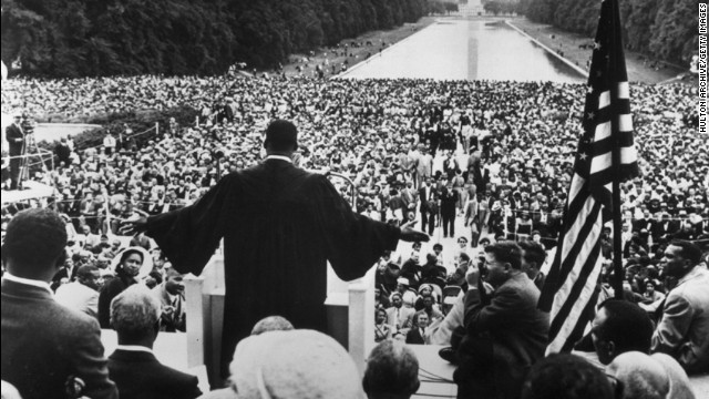 Dr.  Martin Luther King Jr. used his historic 1963 speech in Washington to address poverty and freedom.