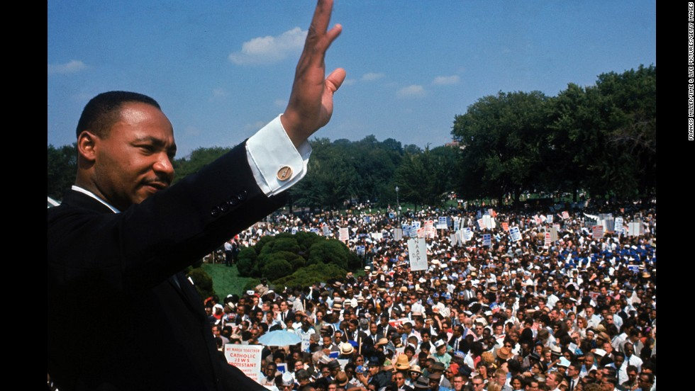 King addresses a crowd of demonstrators outside the Lincoln Memorial during the March on Washington for