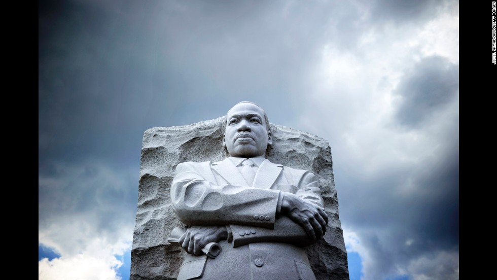 "The statue of King is pictured at a memorial in August 2013 in Washington, as thousands of people gathered to commemorate the 50th anniversary of the March on Washington for Jobs and Freedom, where King gave his ""I Have a Dream"" speech."