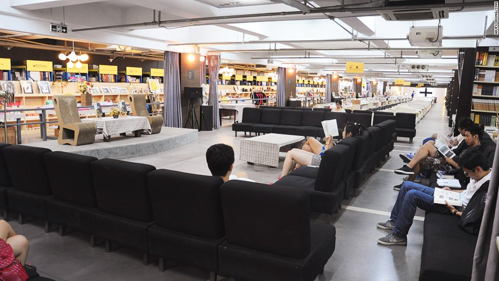 "The bookstore provides hundreds of seats where people can read and spend their days. ""Where can you see a bookshop with readers waiting in line before the shop opens?"" asks Qian. ""I don't worry about selling books. We believe if people are willing to come and stay, we will eventually make business."""
