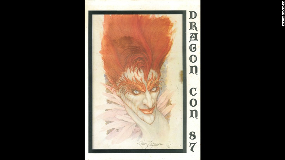 """<a href=""""http://www.dragoncon.org/"""" target=""""_blank"""">Dragon Con</a> first opened its doors in 1987 to about 1,400 science-fiction and fantasy enthusiasts in an Atlanta hotel. This year's convention is expected to draw 55,000 fans. Each year, organizers publish a convention program with eye-catching cover art from a variety of sources: popular novels, comics and a few original illustrations. The first program from 1987 featured art by Robert Gould that was also used for the paperback cover of Michael Moorcock's novel """"A  Messiah at the End of Time."""""""