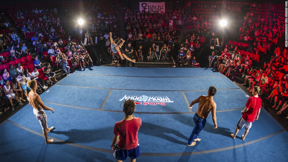 In addition to individual battles, three-on-three matches pit teams of trickers against each other, with judges scoring competitors' kicks, tricks and transitions.