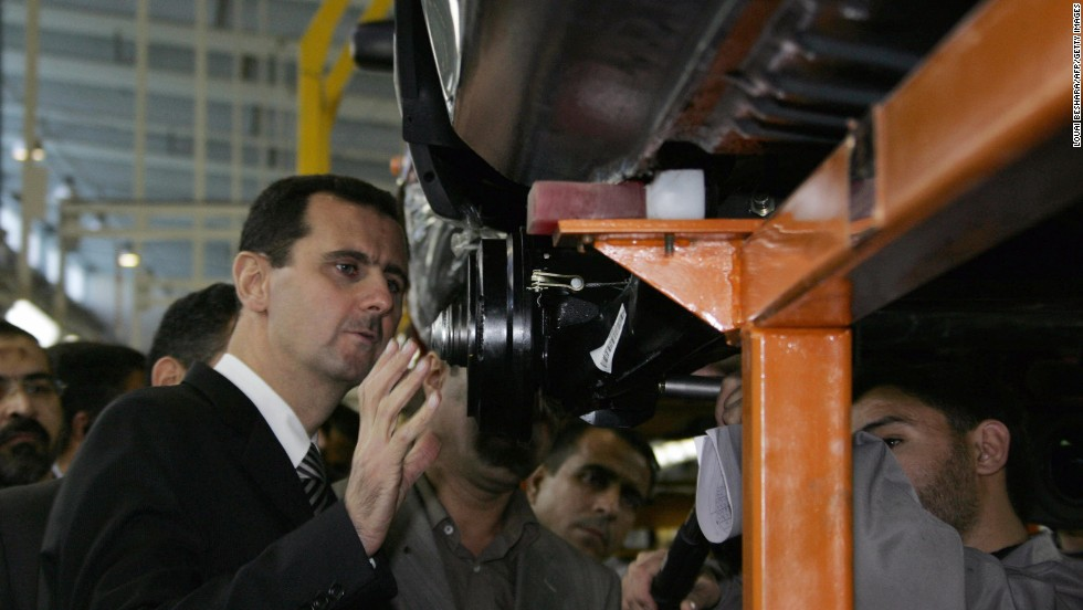 Al-Assad visits a Saba car production factory on December 13, 2007.