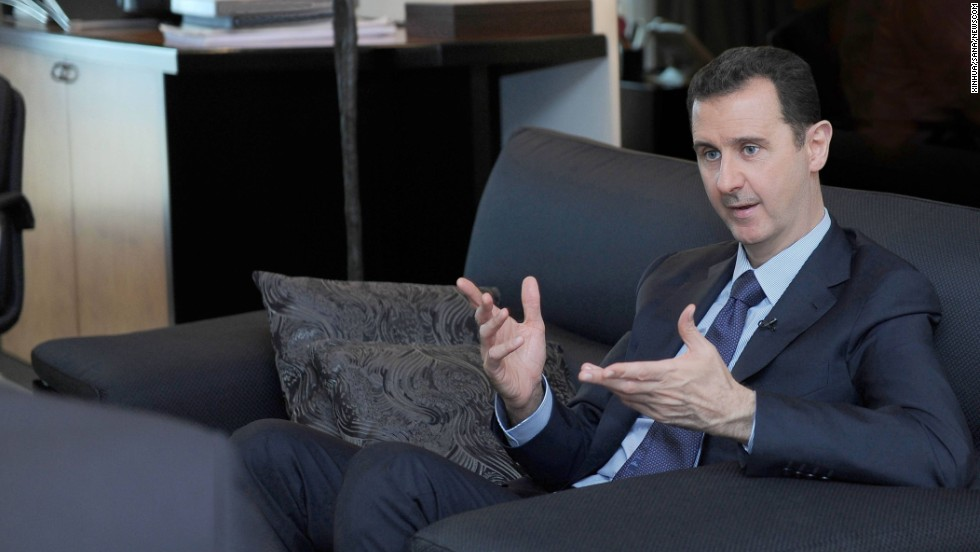 Al-Assad speaks with the Russian newspaper Izvestia in Damascus on August 26, 2013. He told the newspaper that Western accusations that the Syrian government used chemical weapons are an insult to common sense.