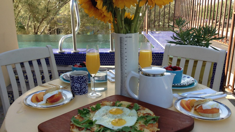 On the menu at Bespoke Inn, Cafe & Bicycles in Scottsdale: A breakfast pizza, ginger scones with peaches, crème fraiche and fresh berries.
