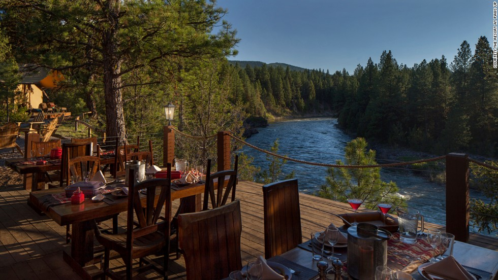 On the menu at the Resort at Paws Up's Cliffside Camp: Sit overlooking the Blackfoot River while your chef picks huckleberries from the surrounding slopes for your breakfast.