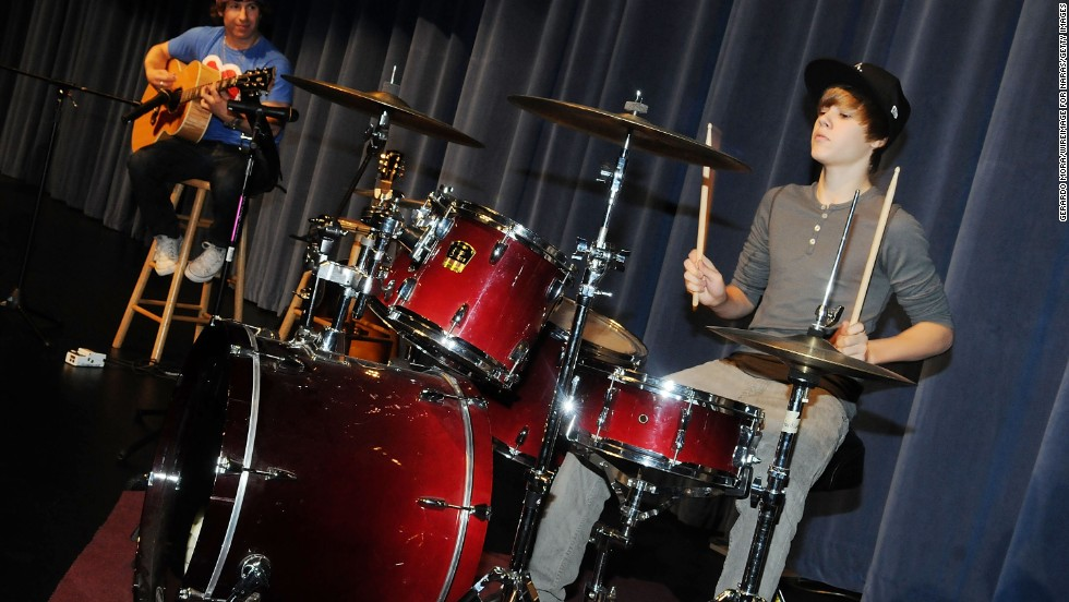 "When Justin Bieber's mom gave him a drum kit for his second birthday, <a href=""http://www.biography.com/people/justin-bieber-522504"" target=""_blank"">he says he was ""basically banging on everything"" </a>he could get his hands on."