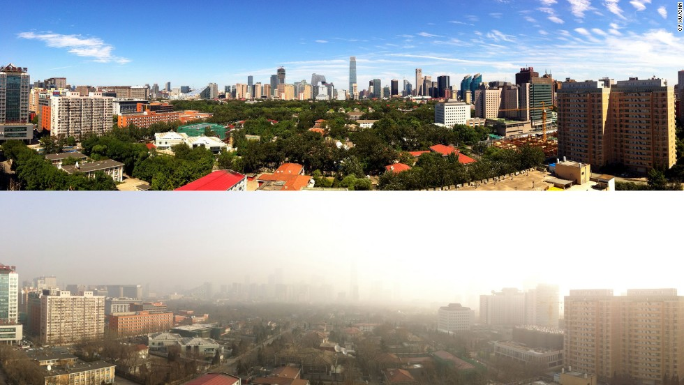 China's capital Beijing, seen here in contrast between blue-sky and smog-filled days, recorded historic air pollution levels in January 2013. Hazardous air quality days have pushed Beijing to enact stricter air pollution policies for the country -- including naming and shaming the nation's top ten worst polluting cities.