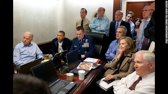 WASHINGTON, DC - MAY 1:  (EDITORS NOTE: Please be advised that a classified document visible in this photo was obscured by The White House) In this handout image provided by The White House, President Barack Obama, Vice President Joe Biden, Secretary of State Hillary Clinton and members of the national security team receive an update on the mission against Osama bin Laden in the Situation Room of the White House May 1, 2011 in Washington, DC. Obama later announced that the United States had killed Bin Laden in an operation led by U.S. Special Forces at a compound in Abbottabad, Pakistan.  (Photo by Pete Souza/The White House via Getty Images) *** Local Caption *** Hillary Clinton;Joe Biden;