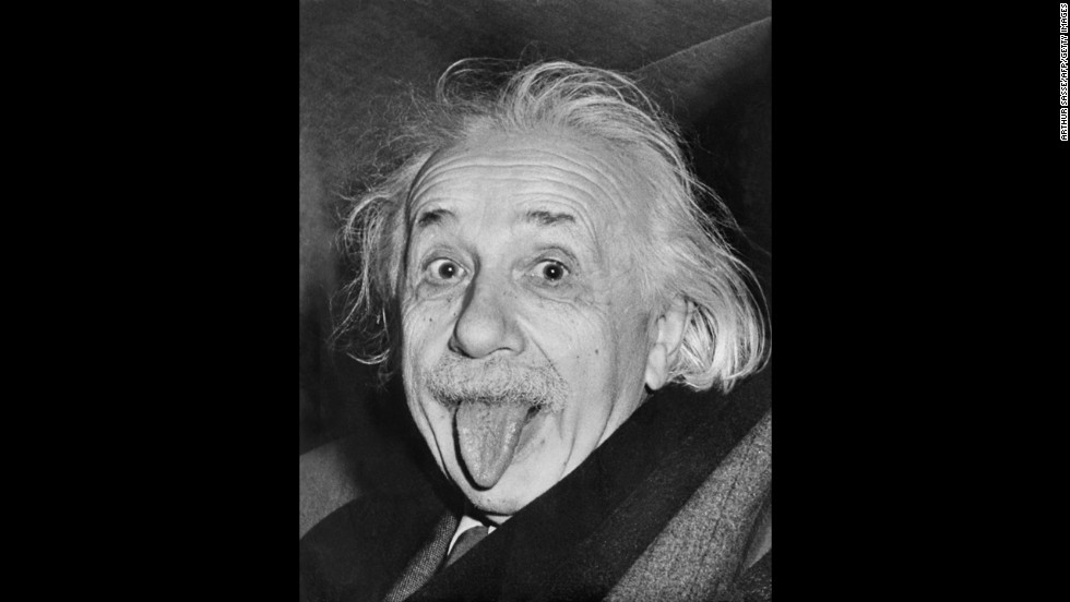 "On Albert Einstein's 72nd birthday in 1951, photographer Arthur Sasse tried to get him to smile for the camera. Tired of smiling for pictures, the Nobel Prize-winning scientist stuck out his tongue instead. It went on to become one of the most recognizable images of Einstein, who reportedly liked the photograph so much he asked for nine copies. He signed one of the prints, which <a href=""http://web.archive.org/web/20090622195523/http://www.thebostonchannel.com/news/19810075/detail.html"" target=""_blank"">sold for more than $74,000</a> in 2009."