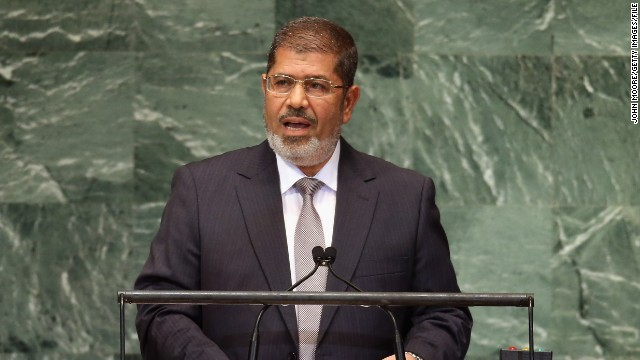 Mohamed Morsy addresses the U.N. General Assembly on September 26, 2012.