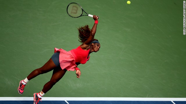Serena Williams' serve worked against Sloane Stephens and she moved into the quarterfinals in New York.
