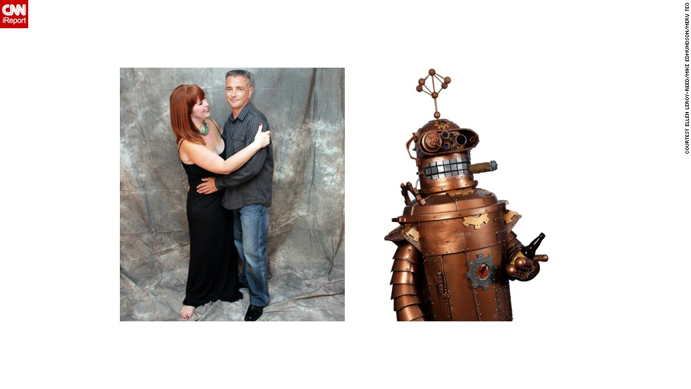 "<a href=""http://ireport.cnn.com/docs/DOC-1026989"">Ellen Leroy-Reed's</a> husband, Fred Reed, turned heads at Dragon Con with his take on a steampunk Bender from ""Futurama."" ""As his vision took shape, he added Bender's signature stogie and beer,"" Leroy-Reed said. ""But why stop there? Bender's front hatch opens to reveal a bar with mixers and shot glasses. The bar is decorated in Victorian style complete with velvet curtain and embellished bar."""