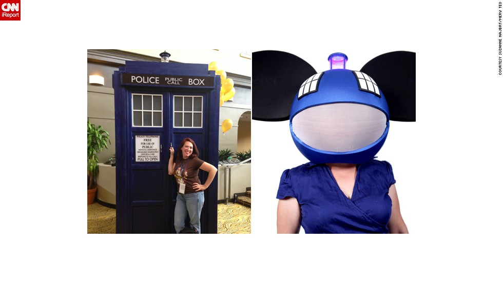 "<a href=""http://ireport.cnn.com/docs/DOC-1024554"">Suzanne Najbrt's</a> combination of ""Doctor Who's"" TARDIS and DJ Deadmau5 led to the nickname ""TARDI5"" by ""Talking Dead"" host Chris Hardwick. ""Cosplay allows me to escape from my mundane suburban mom role and into anything I want to be. For those few hours, I'm just a girl in a costume having fun. No cares. No worries. And I make people smile."""