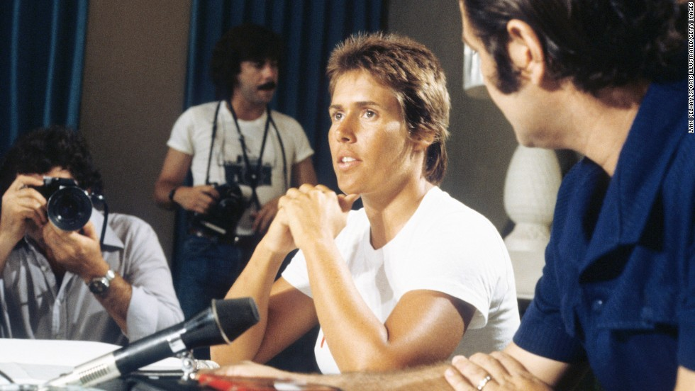 Nyad faces the media in August 1978 before her first attempt to swim from Cuba to the United States.