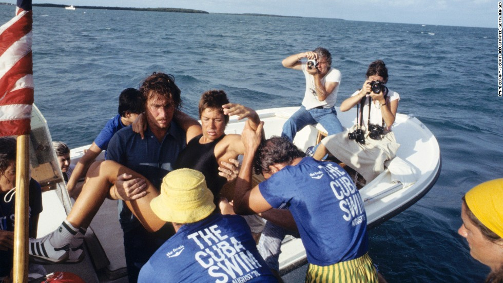 Nyad gets rescued from the water during her 1978 attempt.