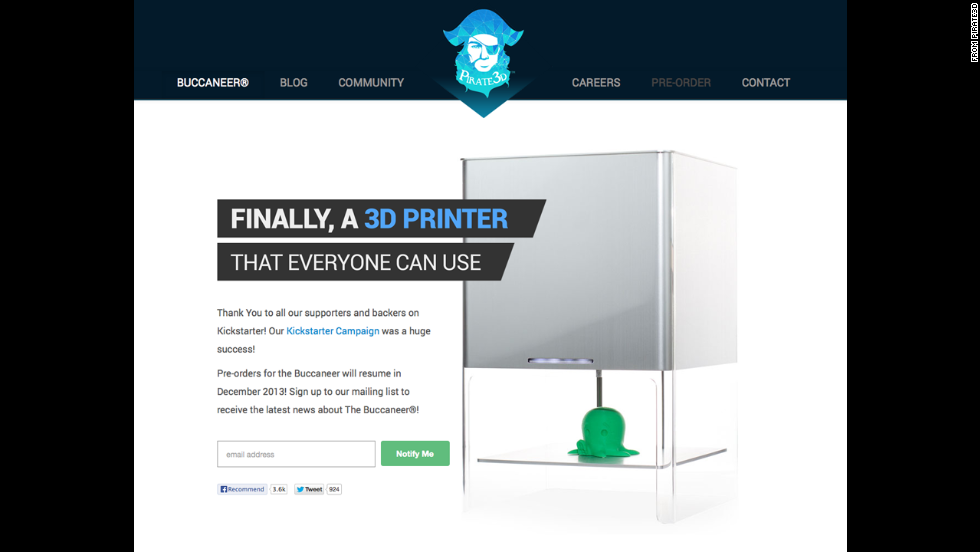 The new Buccaneer 3-D printer is set to cost less than $400 and can print tens of thousands of products, including plastic toys.