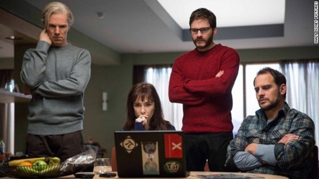 "Benedict Cumberbatch, Carice van Houten, Daniel Bruhl and Moritz Bleibtreu in ""The Fifth Estate."""