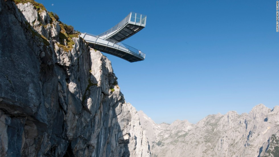 The Alpspix Viewing Platform features two steel beams, both of which measure 79 feet (24 meters) in length. Visitors brave enough to walk to the end of the glass-walled platforms can look 3,281 feet (1,000 meters) down into the valley.