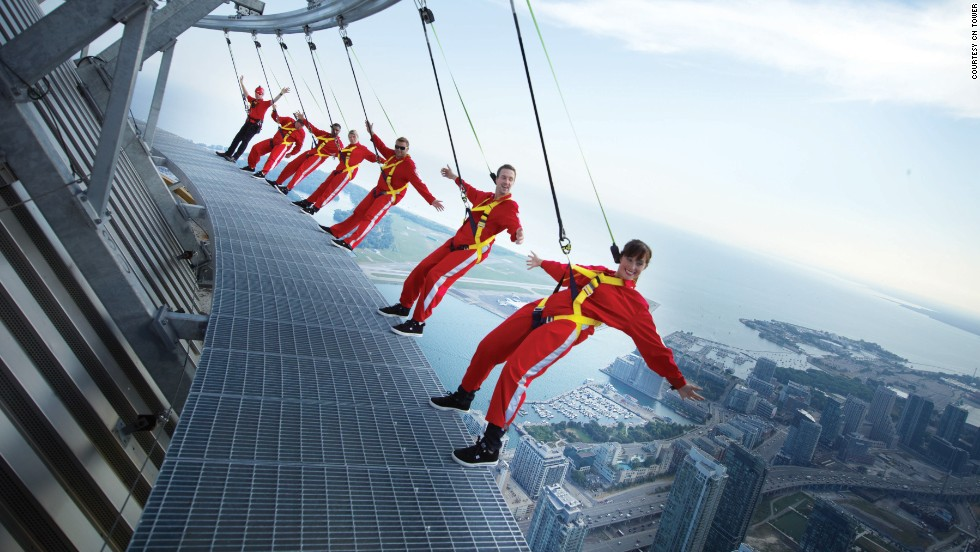 Located on the roof of the CN Tower's restaurant at a height of 1,168 feet (356 meters), the EdgeWalk in Toronto allows visitors to slip into climbing harnesses and walk around the edge of Canada's tallest structure. There's also a glass floor 1,122 feet (342 meters) above ground level, and although this glass is only 2.5 inches thick, it's strong enough to hold 14 hippos -- if they could fit in the elevator.