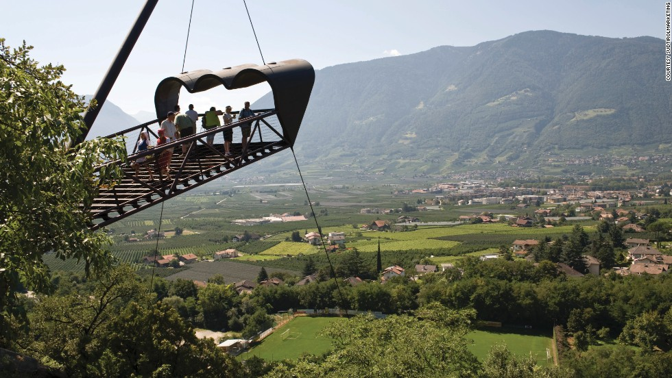 The best views of Italy's Merano region are from this binocular-shaped viewing platform, high above the gardens' huge oak forest. The viewing platform is just one of several within the gardens, which in 2005 were named Italy's most beautiful gardens.