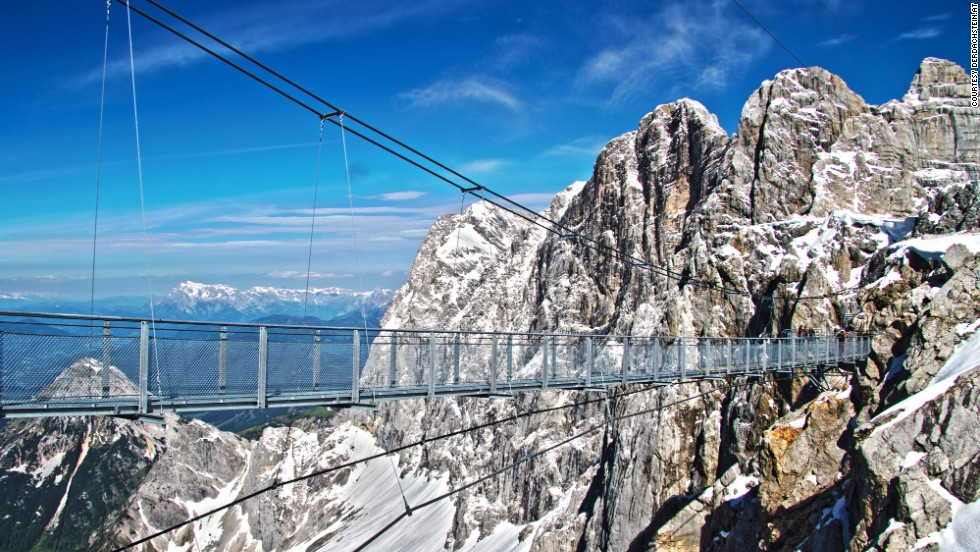 Visitors to Dachstein's Stairway to Nothingness must first cross Austria's highest bridge, which is 328 feet (100 meters) long and straddles a drop of 1,300 feet (396 meters). Then they face 14 steps that descend from the cliff face and which are surrounded by glass walls.