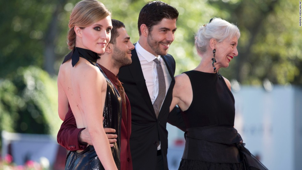 "From left, actress Evelyne Brochu, director Xavier Dolan and actors Pierre Yves Cardinal and Lise Roy arrive for the screening of the movie ""Tom at the Farm"" at the Venice Film Festival on September 2."