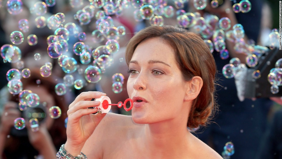 "Cristiana Capotondi blows bubbles at ""The Zero Theorem"" premiere on Monday, September 2."
