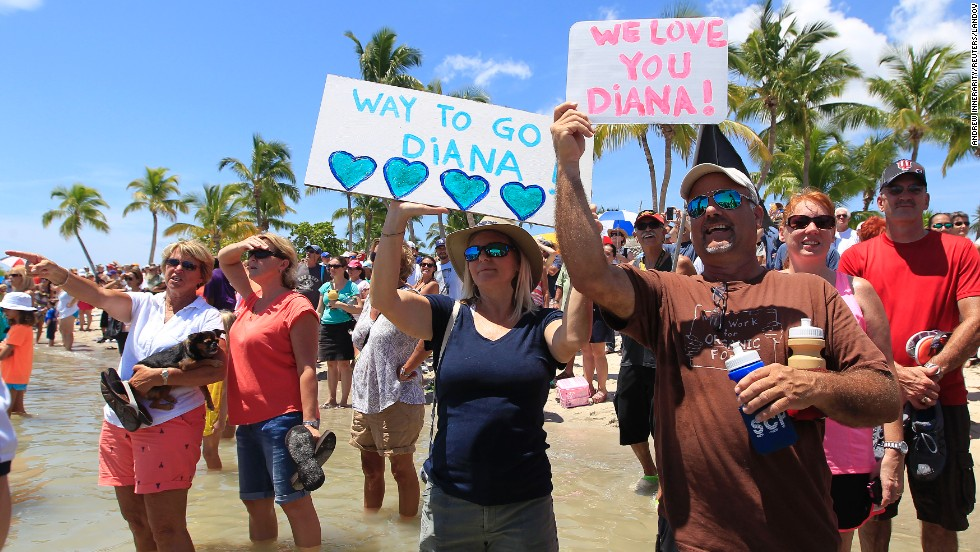 People cheer as they await Nyad in Key West on September 2.