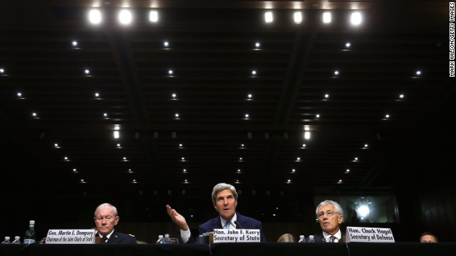 "WASHINGTON, DC - SEPTEMBER 03:  (L-R) U.S. Chairman of the Joint Chiefs of Staff Gen. Martin Dempsey, U.S. Secretary of State John Kerry, and U.S. Defense Secretary Chuck Hagel testify before the Senate Foreign Relations Committee on the topic of ""The Authorization of Use of Force in Syria"" September 3, 2013 in Washington, DC. U.S. President Barack Obama is attempting to enlist the support of members of the U.S. Congress for military action against the Syrian government for using chemical weapons against its own people last month.  (Photo by Mark Wilson/Getty Images) *** BESTPIX ***"