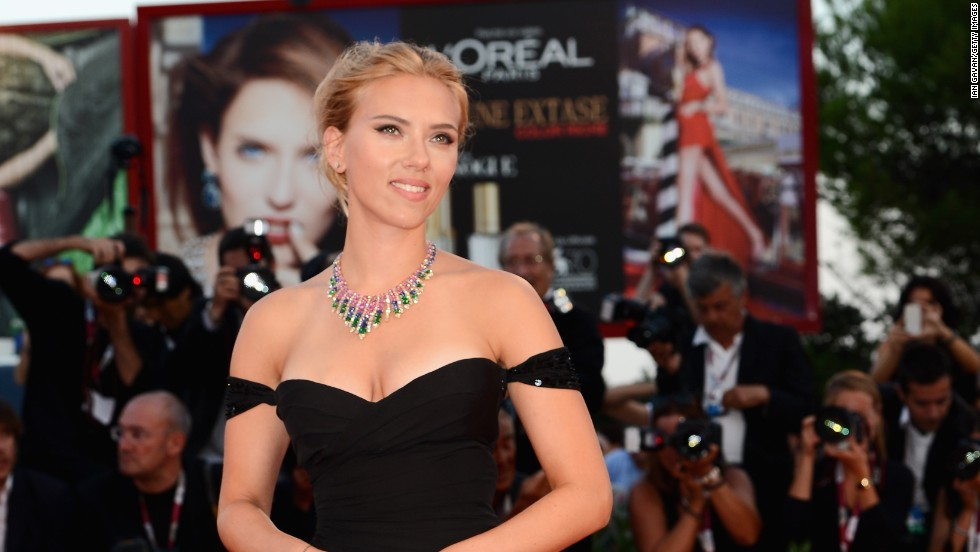 "Scarlett Johansson shows some skin at the ""Under The Skin"" premiere during the 70th Venice International Film Festival in Venice, Italy on September 3."