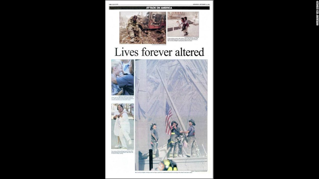 The now-famous photograph was never featured on the front page of The Record, the newspaper Franklin works for in Bergen County, New Jersey. The photo appeared on page 32 on September 12, 2001.